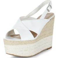 White Cross Strap Wedge Sandals