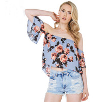 Gray-Blue Floral Print Off-Shoulder Lotus Sleeves Blouse