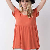 Coral Baby Doll Tunic Top