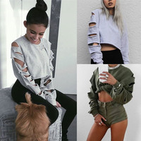 Plus Size Hoodies Ripped Holes Long Sleeve Tops T-shirts [8973622278]