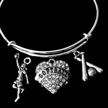 Softball Jewelry Adjustable Bracelet Expandable Silver Charm Bangle Softball Player and Bat One Size Fits All Gift
