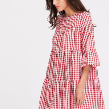 3/4 Sleeve Tiered Gingham Tent Dress
