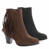 Cinco1 Western Fringe High Stacked Block Heel Ankle Boots Booties for Women
