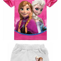 Summer babies girls outfits printed children casual sets short sleeve T-shirt tops+shorts pant 2pcs set kids clothing frozen cartoon suits