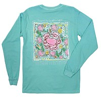 Crab Pattern Long Sleeve Tee Shirt in Chalky Mint by Southern Fried Cotton