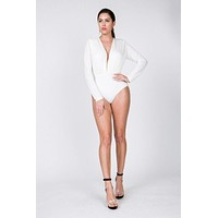 Katrina Deep V Long Sleeve Bodysuit- White