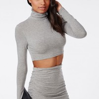Missguided - Roll Neck Long Sleeve Crop Top Grey
