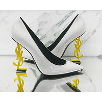 YSL 2019 new wild super high heel pointed shallow mouth female models single shoes 5#