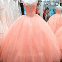 Strapless Ball Gown Coral Prom Dresses Floral Colorful 2017 Beaded Long Prom Gowns Princess Party Dress real Vestidos De Festa