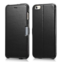 iPhone 6s Plus / 6 Plus Case, Benuo [Luxury Series] [Stand Feature] Folio Case Flip Cover, Corrected Grain Genuine Leather Case [1 Card Slot] with Magnetic Closure for iPhone 6 Plus / iPhone 6s Plus 5.5 inch (Black)