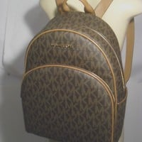 NWT Michael Kors Abbey Brown Acorn PVC Large Backpack School Book Bag MK