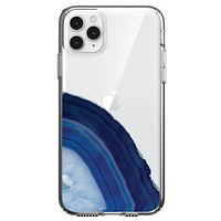 DistinctInk® Clear Shockproof Hybrid Case for Apple iPhone / Samsung Galaxy / Google Pixel - Dark Blue Agate Crystal Geode