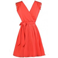 Lily Boutique Orange Coral Summer Dress, Cute Summer Dress, Cute Coral Dress, Orange Coral Pleated A-Line Dress, Orange Coral Cocktail Dress, Orange Coral Party Dress, Orange Coral Bridesmaid Dress, Coral Bridesmaid Dress, Coral Party Dress, Coral A-Line D