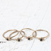 With Love From CA Delicate Midi Ring Set - Womens Jewelry - Black - One