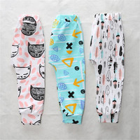 New spring&autumn variety baby girls boys cotton harem PP pants Animals Cartoon geometry printing  trousers