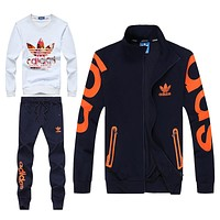 Adidas Fashion Casual Cardigan Jacket Coat Top Sweater Pants Trousers Set Three-Piece
