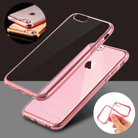 Case For iPhone 6 6S/6s Plus Plated Soft TPU Ultra Thin Clear Back Case For Apple iPhone 6 6S Plus Luxury Armor Protective Cover