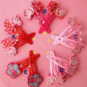 Peppa pig Hair Clips bows & hairpin / headwear, bob pins, hair jewelry, for baby & toddler & Children & girl(5 matching pairs)(set of 10) (10 PCS)