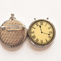 Clock brooch, antique rare clock brooch, pocket watch, jewelry brooch, vintage complements