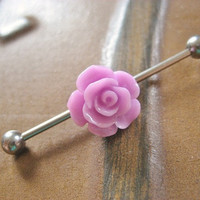 Lavender Purple Rose Industrial Barbell Piercing Jewelry Flower Bud Earring Ear Bar Barbell Rosebud