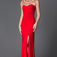 Open Back Xcite Prom Dress with Illusion Neckline