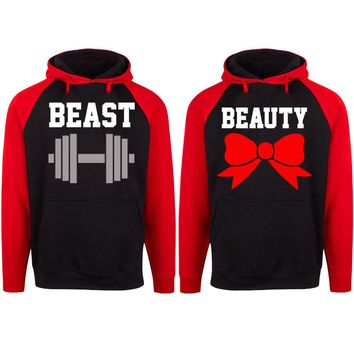 Beast and Beauty Two-tone Black / Red Raglan Hoodie