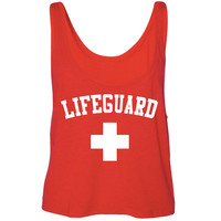 Lifeguard Red Flowy Lightweight Crop Top Tank