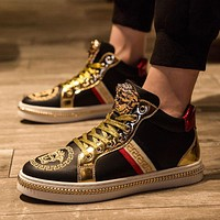 Versace Medusa pattern all-match men and women high-top canvas shoes sneakers