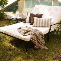 Riviera Double Chaise & Cushion   Pottery Barn