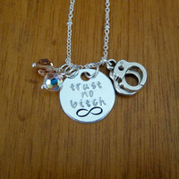 Trust no bitch necklace. Handcuff charms. Swarovski elements crystals. Infinity symbol necklace.