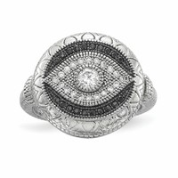 Sterling Silver Rhodium-plated Black and White CZ Evil Eye Ring