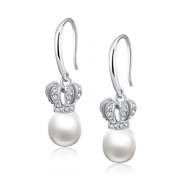 Sterling Silver Crown W. Freshwater Cultured Pearl and Cubic Zirconia Earrings