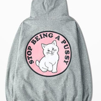 New Autumn Carton Cat Base Refers The Grey Hoodies Stop Being A Pussy Print Hoodies Streetwear Men's Sweatshirts Size 3XL