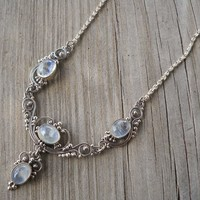 925 Sterling Silver Neckchain Rainbow Moonstone Necklace