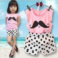 Cute Baby Toddler Girl Mustache and Polkadot Shorts 2 Pc Set NB to 8