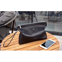 PRADA MEN'S NEW STYLE LEATHER ZIPPER HAND BAG