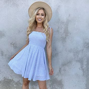 Love Is In The Air Blue Floral Babydoll Dress