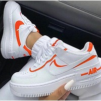 Nike Air Force 1 Shadow Fashion Women Casual Sport Running Shoes Sneakers White&Orange