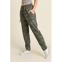 Ribbed Camo Soft Knit Joggers - Pre Order