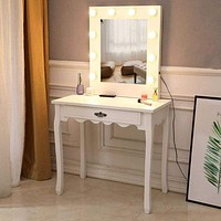 Vanity table Dressing Table 10 Light Bulbs Led Light Girl bedroom makeup vanity furniture With Illuminated Mirror
