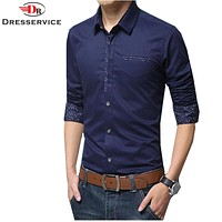 New Fashion 100%Cotton Men Casual Shirt Long Sleeve Mens Dress Shirts Men Clothes Slim Fit High