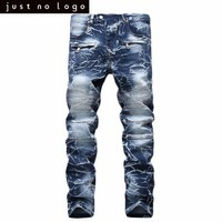 Fashion Mens Distressed Straight Pleatea Biker Jeans Whitish Snowflake Pattern Slim Fit Denim Pants Skinny Destroyed Trousers