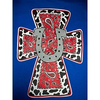 SALE Southern Chics Horseshoe Cross Paisley Country Christian Girlie  Bright T Shirt