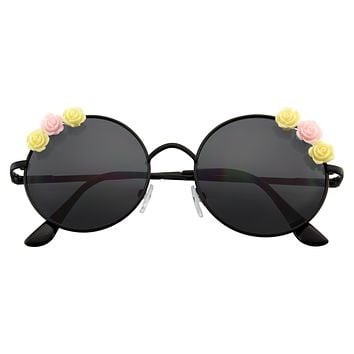 Women's Flower Hippie Floral Metal Round Sunglasses