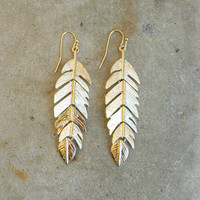 Golden Feather Earrings [6442] - $12.80 : Vintage Inspired Clothing & Affordable Dresses, deloom | Modern. Vintage. Crafted.