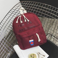 """""""You Can Be Anything"""" Cute Canvas Wine Red Backpack"""