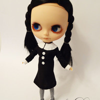 Wednesday Addams Collared Pilgrim Dress and Striped Stockings for Blythe from Sew Do Something