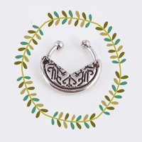 Silver Boho Fake Nose Ring, Tribal Faux Septum Piercing