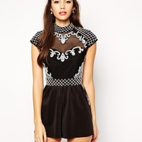 ASOS Playsuit with Victoriana Mono Embellishment