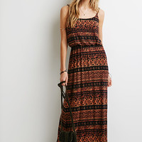 Striped Print Maxi Dress
